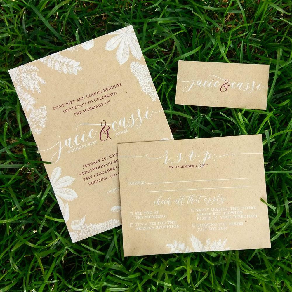 Rutic, elegant wedding invitations